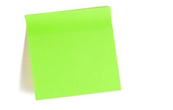 Green reminder note. Isolated over white stock photography