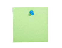 Green  reminder note with blue pin Royalty Free Stock Photo