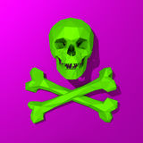 Green rendered skull low poly illustration. 3d Low-poly mesh green skull illustration on colorful background Royalty Free Stock Images