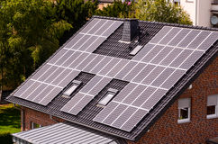 Green Renewable Energy with Photovoltaic Panels Stock Image
