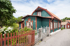 Green residential wooden house Oregrund Sweden Stock Photos