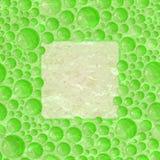 Green Retro Card with Foam Bubble Frame Stock Photos