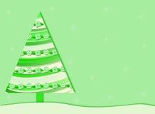 Green Retro Christmas tree background. A green Christmas background with a retro Christmas tree and snowflakes stock illustration