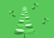 Green Retro Christmas Tree and ornaments Stock Photos