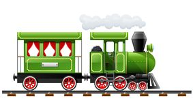 Green retro locomotive with coach Stock Photos