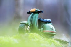 Green Retro Motorcycle Stock Photo