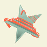 Green Retro Paper Star Illustration with Red Strip Royalty Free Stock Image