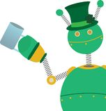 Green retro style springy robot clover hat beer Royalty Free Stock Images