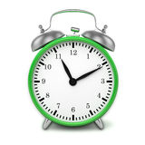 Green retro styled classic alarm clock isolated Stock Photos