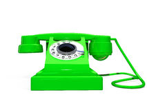 Green retro telephone Stock Photo