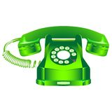 Green retro telephone against white Stock Photography