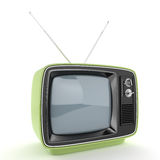 Green retro TV perspective Royalty Free Stock Image