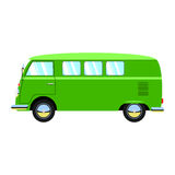 Green retro van illustration. Vector, isolated Royalty Free Stock Photos