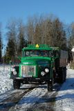 Retro Volvo truck from 1972 on snowy roads. Green Retro veteran Volvo truck N88 from 1972 on snowy winter roads in south of Sweden`s countryside unloading in Stock Photo