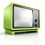 Green retro vintage TV Set on white background Royalty Free Stock Photos