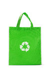 Green reusable shopping bag. With recycle symbol on white stock photo