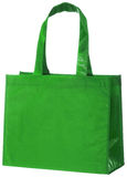 Green, reusable shopping bag + clipping path. Stock Photo