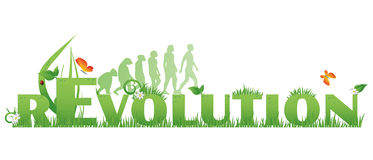 Green rEvolution. /Revolution text decorated with,flowers,water drops, ladybug and ape to man silhouettes,  on white Royalty Free Stock Image