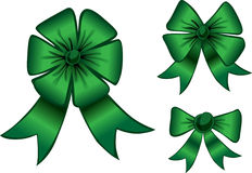 Green ribbon. This picture shows a green bow Stock Photo