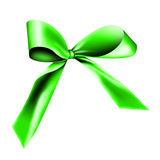 Green ribbon. A green ribbon with a knot isolated on white Stock Images