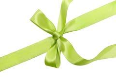 Green ribbon. Isolated on white background stock image