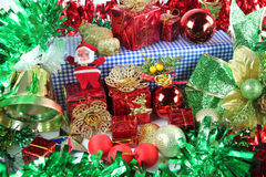 Green Ribbon and Accessory decorations in Christmas day. Stock Images