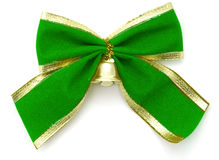 Green ribbon and bell Stock Photos