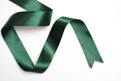 Green ribbon border isolated on white. Background Royalty Free Stock Photography