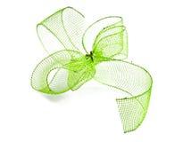 Green ribbon bow Stock Photos
