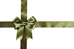 Green ribbon with bow Royalty Free Stock Photography