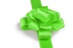 Green ribbon bow angle photo Royalty Free Stock Photography