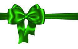 Green ribbon and bow for festive decorations Royalty Free Stock Photography