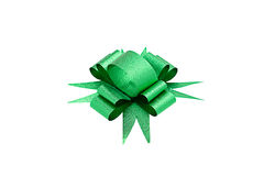 Green ribbon bow isolated Royalty Free Stock Photography