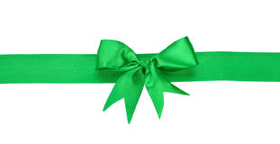 Green ribbon with bow Stock Photos