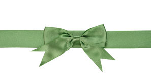 Green ribbon with bow Royalty Free Stock Photo