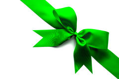 Green ribbon and bow Stock Images