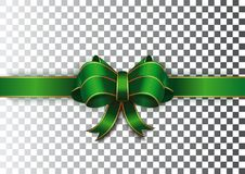 Green ribbon with a bow on a transparent background. Green festive ribbon with gold edging. Realistic vector illustration Royalty Free Stock Photo