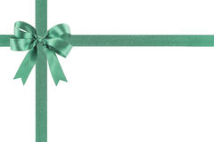 Green ribbon with a bow Stock Photography