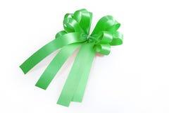 Green ribbon and bow Royalty Free Stock Photo