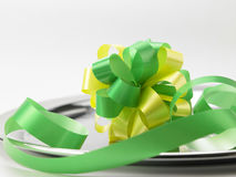 Green ribbon bows Stock Photo
