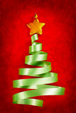 Green ribbon Christmas tree Royalty Free Stock Photography