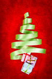 Green ribbon Christmas tree Stock Photography