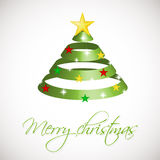 Green ribbon Christmas tree on silver background with snowballs, stars and snowflakes. Stock Images