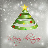 Green ribbon Christmas tree on silver background with snowballs, stars and snowflakes. Stock Photography