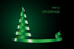 Green Ribbon Christmas tree Stock Photo