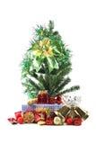 Green ribbon and Christmas trees. Royalty Free Stock Photos