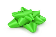 Green ribbon gift bow isolated on white Stock Photography
