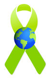 Green ribbon and globe illustration design Royalty Free Stock Photography