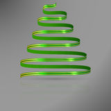 Green ribbon with gold lines in shape of abstract christmas tree Stock Image