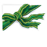 Green ribbon with golden stripes Royalty Free Stock Photography